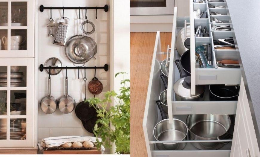 организация хранения в шкафах на кухне