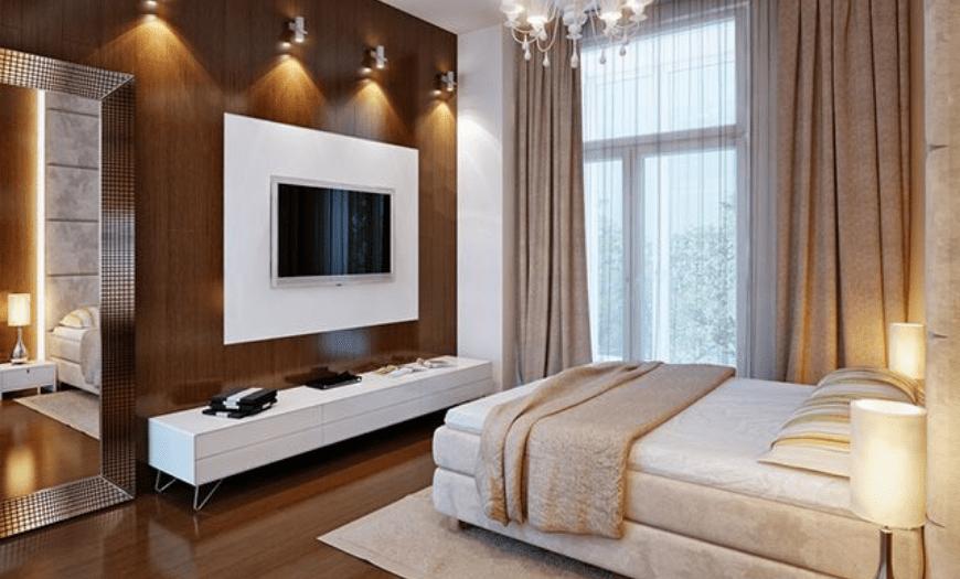 Современная спальня в коричневом цвете
