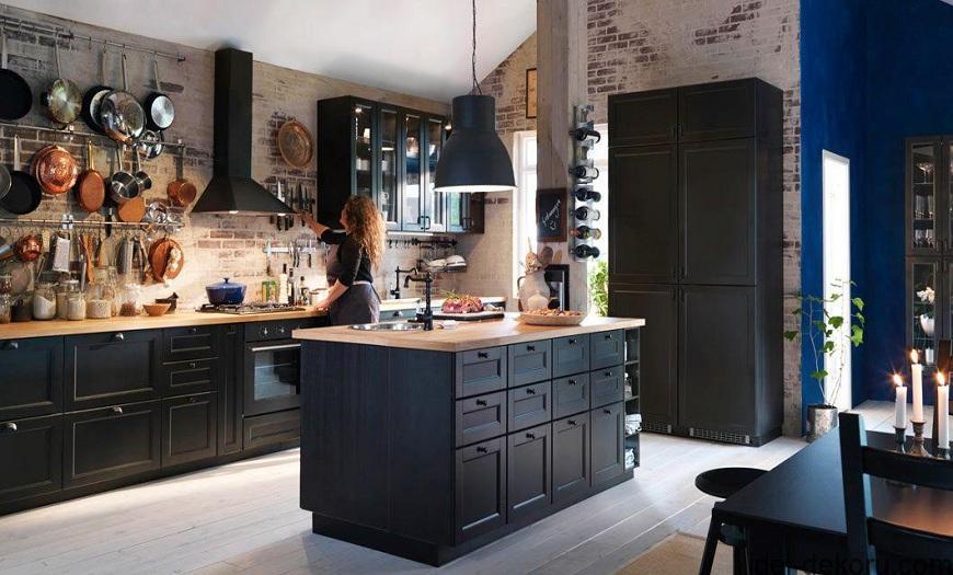 Черная кухня икеа Даларна