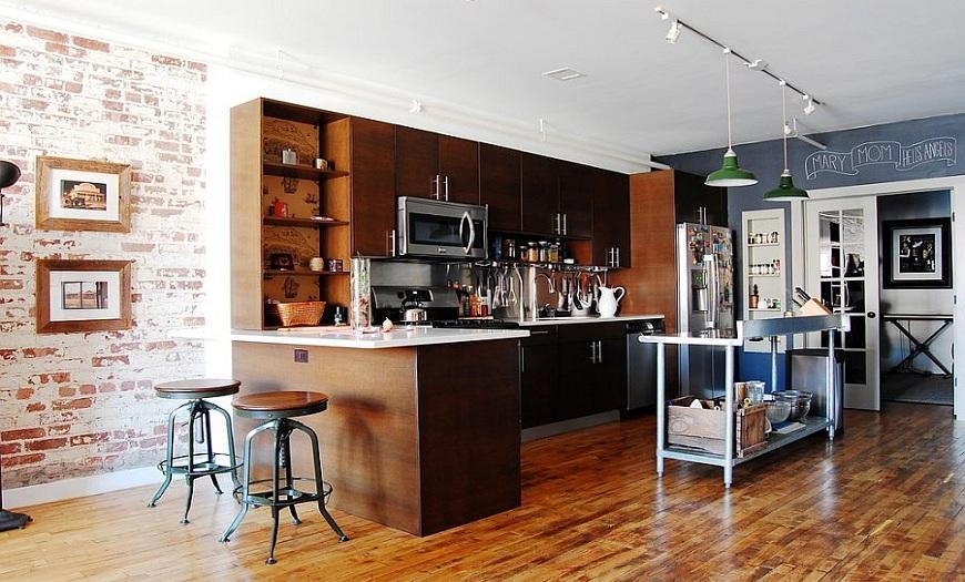 коричневая кухня Лофт