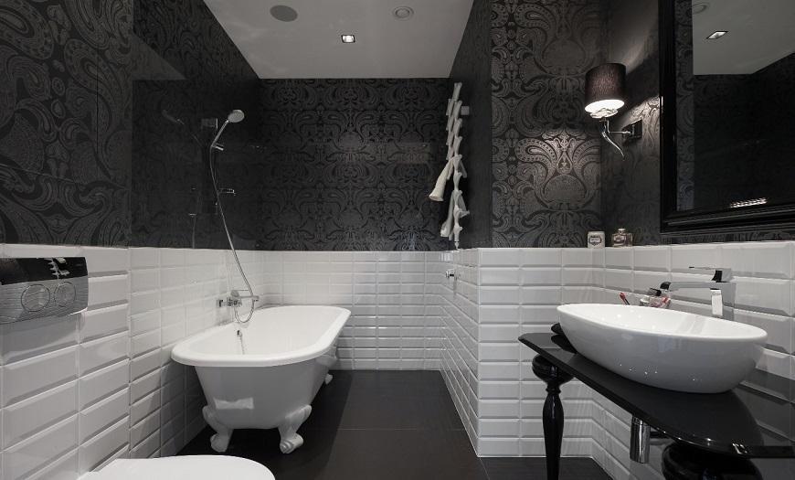 Ванная комната в черно-белом цвете