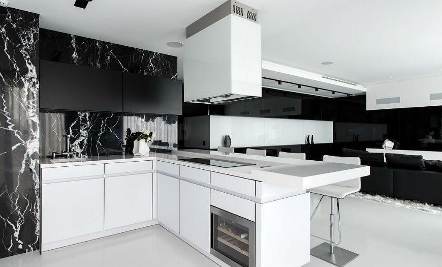 бело- черная кухня
