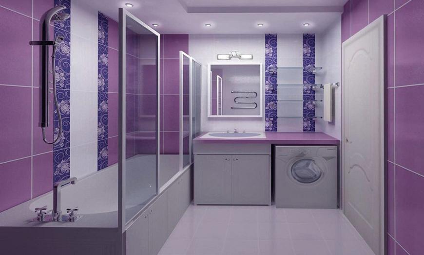 Ванная в фиолетовых тонах.