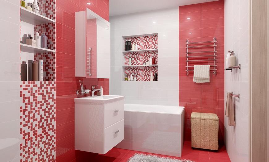 Красно-белая ванная.