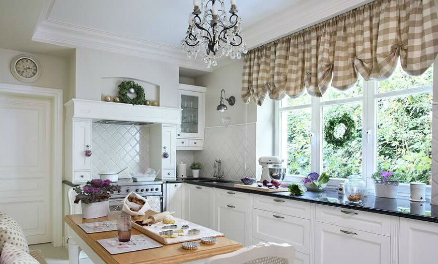 Кухня в стиле прованс шторы