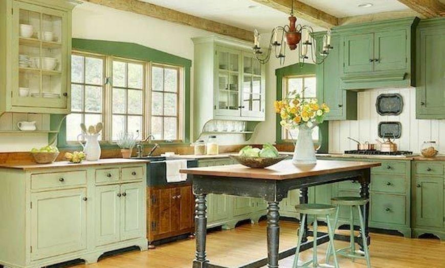 Кухня в стиле прованс салатового цвета