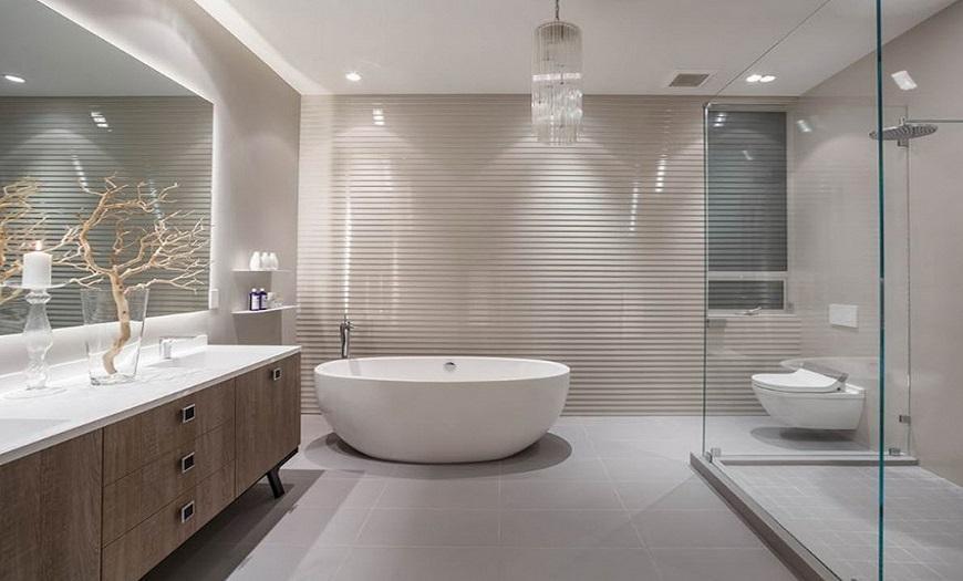 серо-бежевая ванная