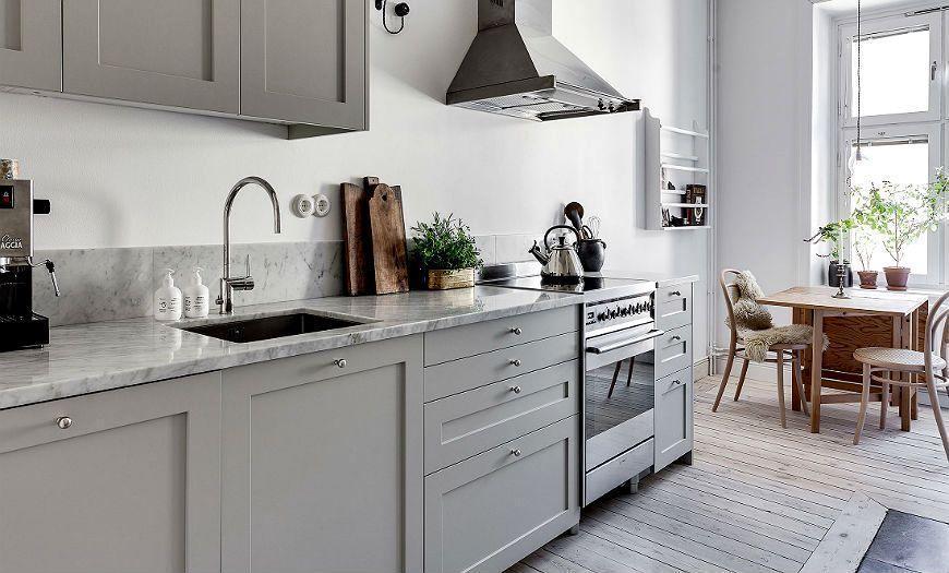 Скандинавская кухня серая