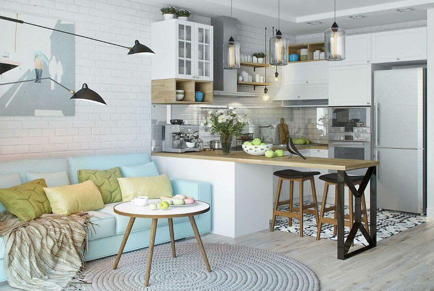 Скандинавская кухня зонирование