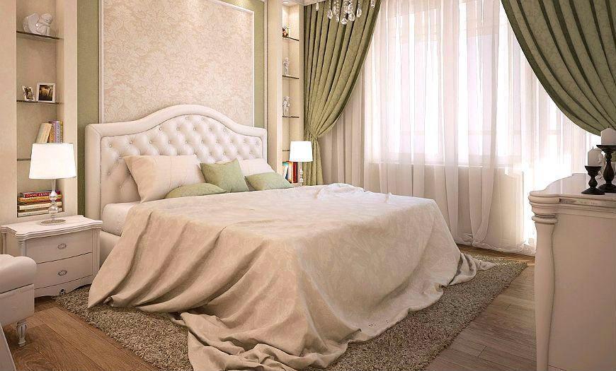 Интерьер спальни, оформленный в классическом стиле.