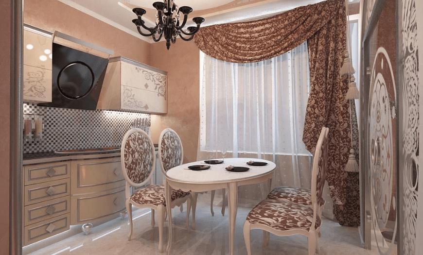 Кухня 9 м кв в стиле Ар-деко