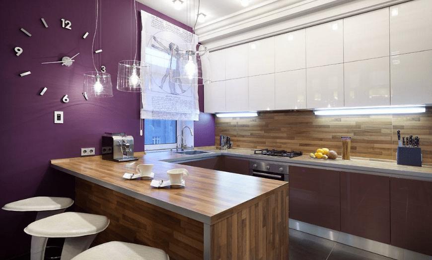 Дизайн кухни 9м кв с барной стойкой