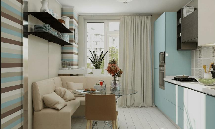Дизайн кухни 9 м кв с диваном