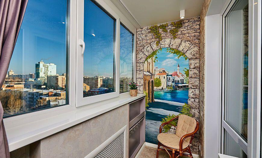 Фотообои в дизайне балкона