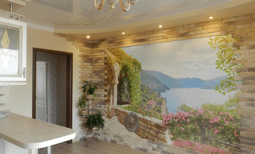 Отделка стены фреской на кухне