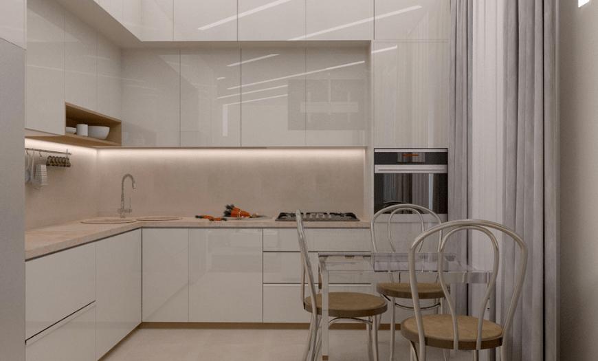 глянцевые фасады в кухне