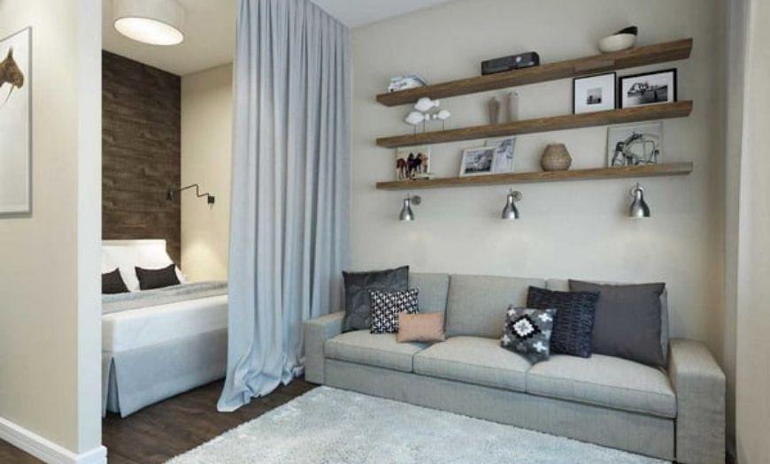 Квартира-студия в светлых тоннах