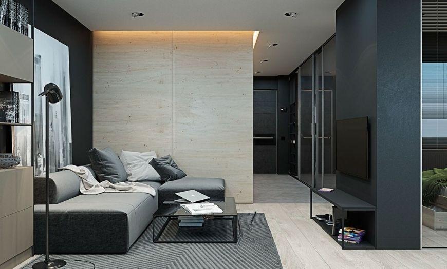 Квартира-студия модерн в тёмных тоннах