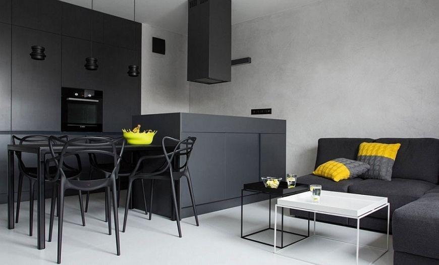 Кухня квартиры-студии в тёмных тоннах.