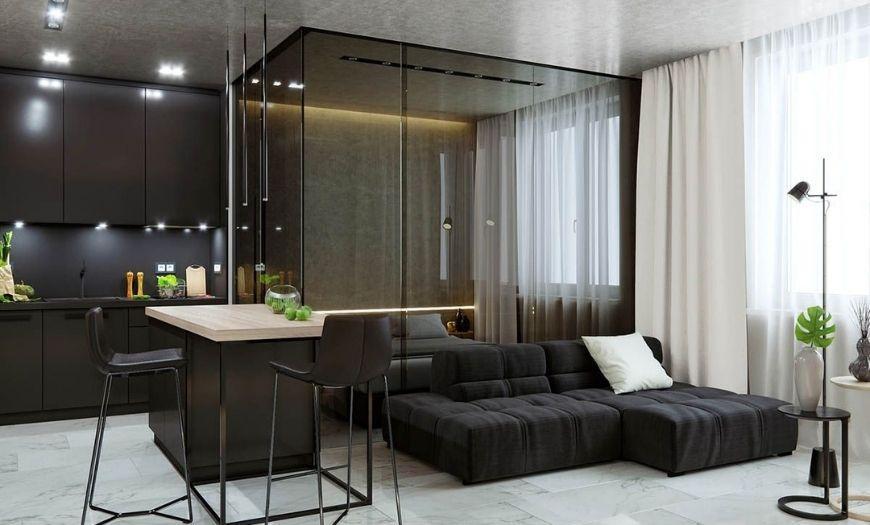 Модные стилевые решения квартиры-студии в тёмных тоннах
