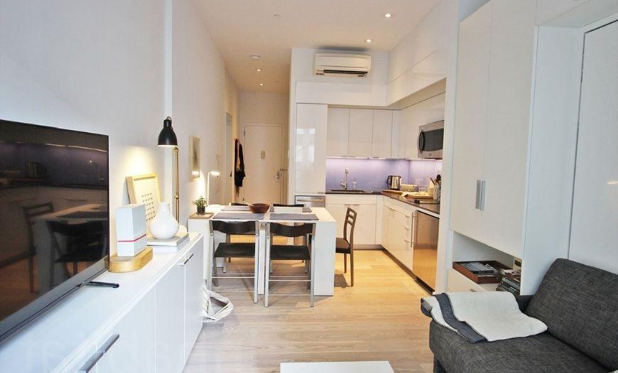 Квартира-студия мебель в светыл тоннах