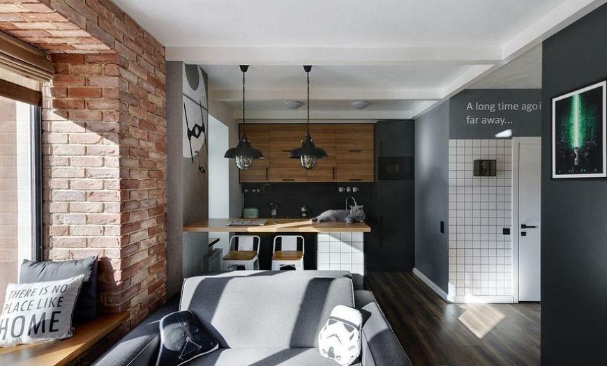 Квартира-студия в тёмных тоннах