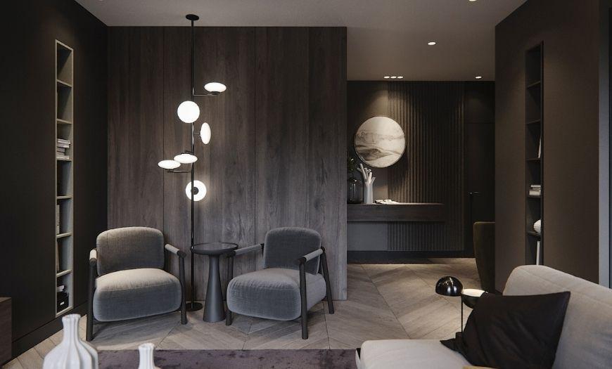 Квартира-студия освещение в тёмных тоннах