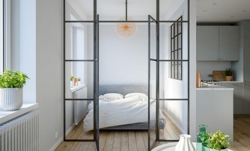 Квартира-студия прозрачная перегородка
