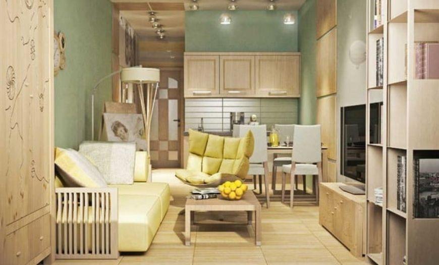 Квартира-студия в светлых мятных тоннах