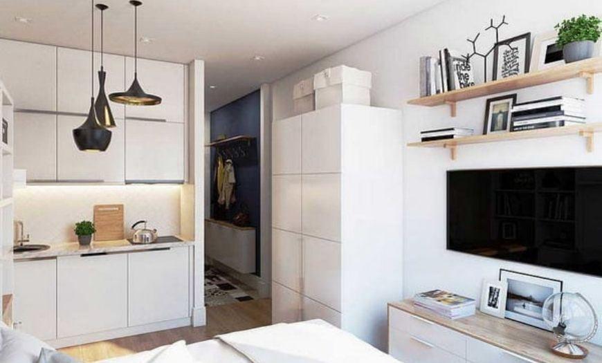 Квартира-студия в белых тоннах