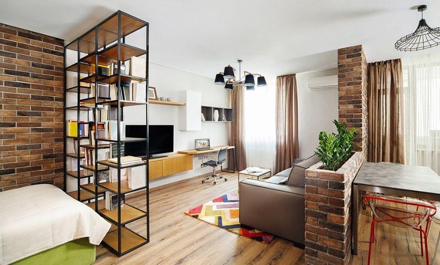 Гостиная в квартире-студии стиле лофт