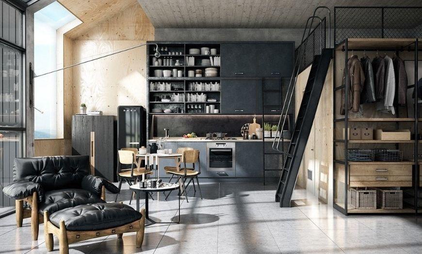 Квартира-студия в стиле лофт в тёмных тоннах