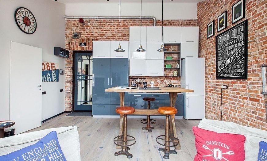 Кухня квартиры-студии в стиле лофт.
