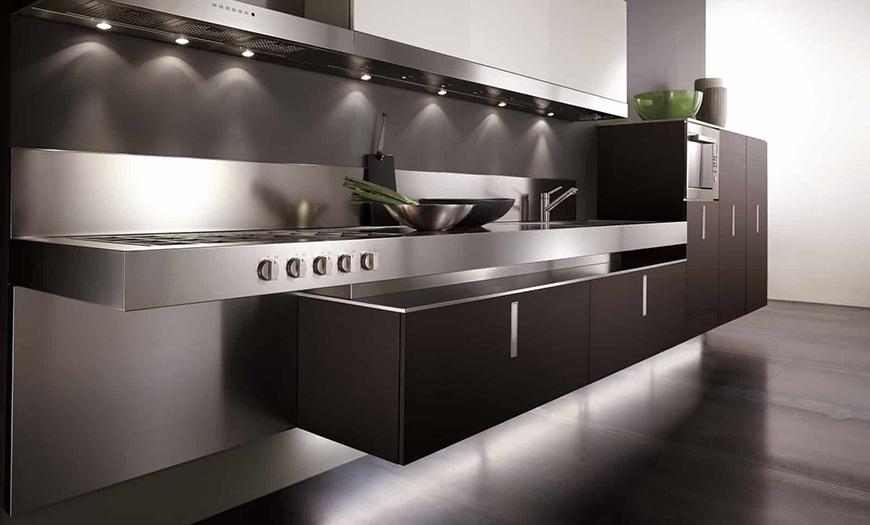 Кухня 9 кв метров в стиле Хай-тек