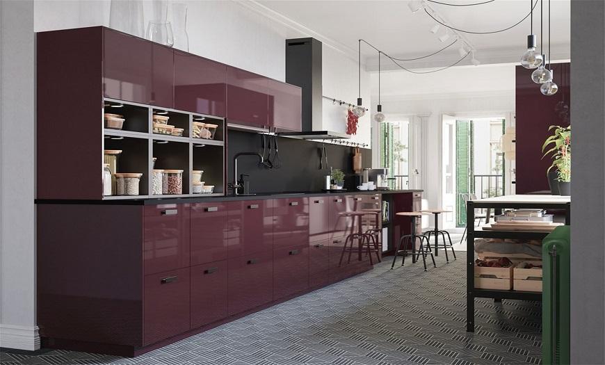 """кухня икеа """"Калларп"""" в красно-коричневом цвете"""