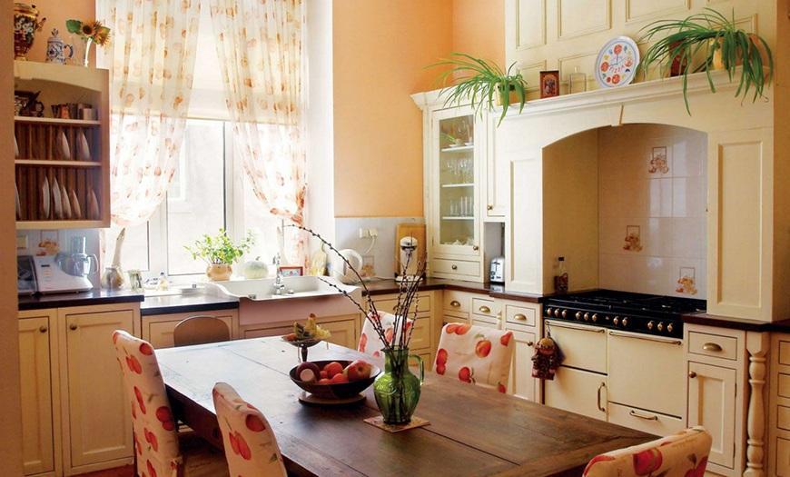 Кухня 9м кв в стиле кантри