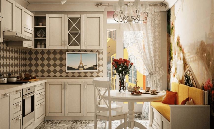 кухня 9 кв м дизайн с диваном