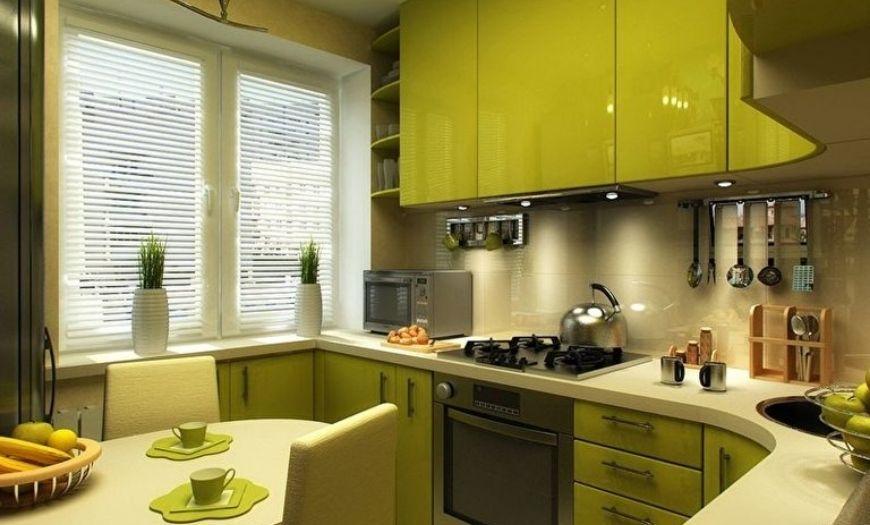 Кухня в ярко-зелёных тонах.