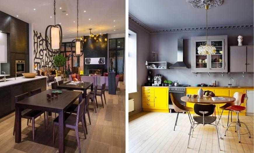 Кухни в предельно разных цветовых тоннах.