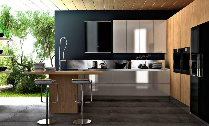 Кухня в стиле модерн в частном доме.