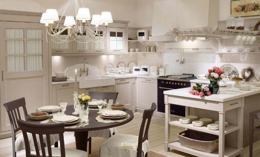 Кухня в стиле прованс в белых тонах.