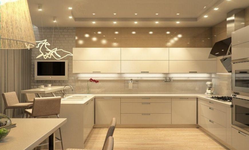 Кухня в стиле модерн в светлых тоннах.