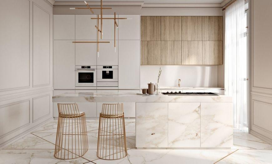 Кухня в стиле минимализм с элементами мрамора.
