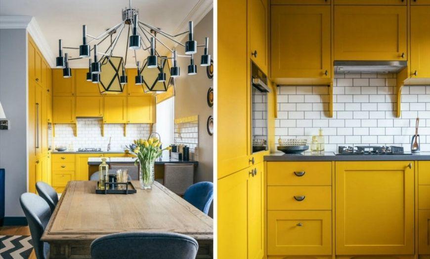 Кухня в жёлтыхх тонах.