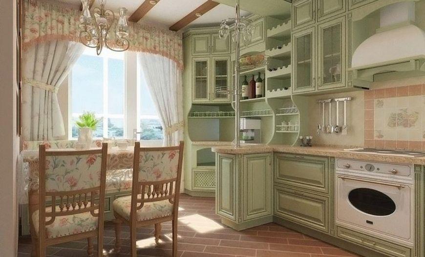 Кухня в стиле прованс в мятных тонах.