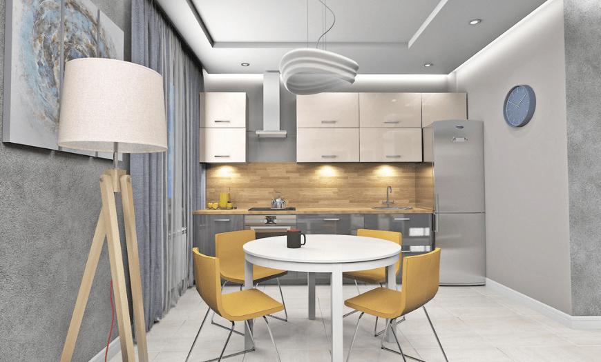 кухня 9 кв м дизайн с холодильником