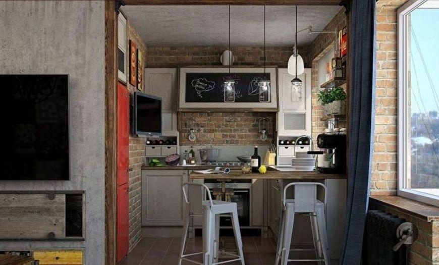 Кухня в холодных тоннах.