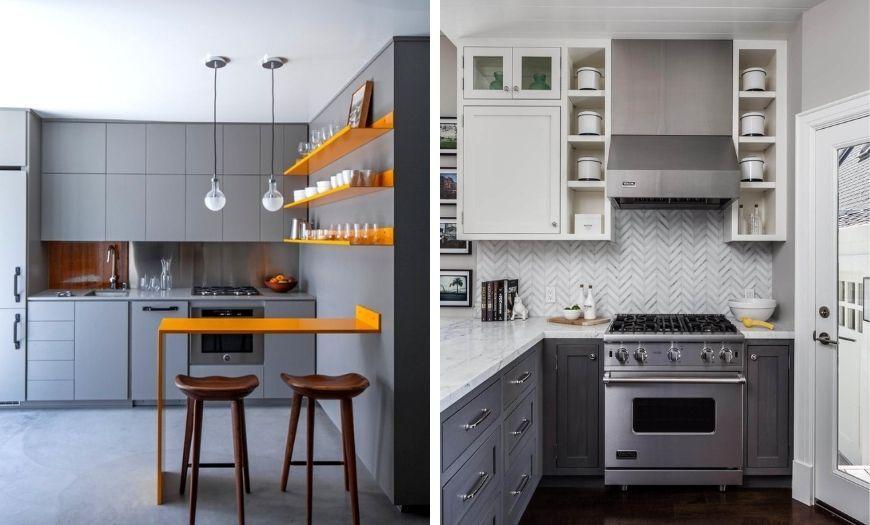 Кухня в стиле модерн в серых тоннах.