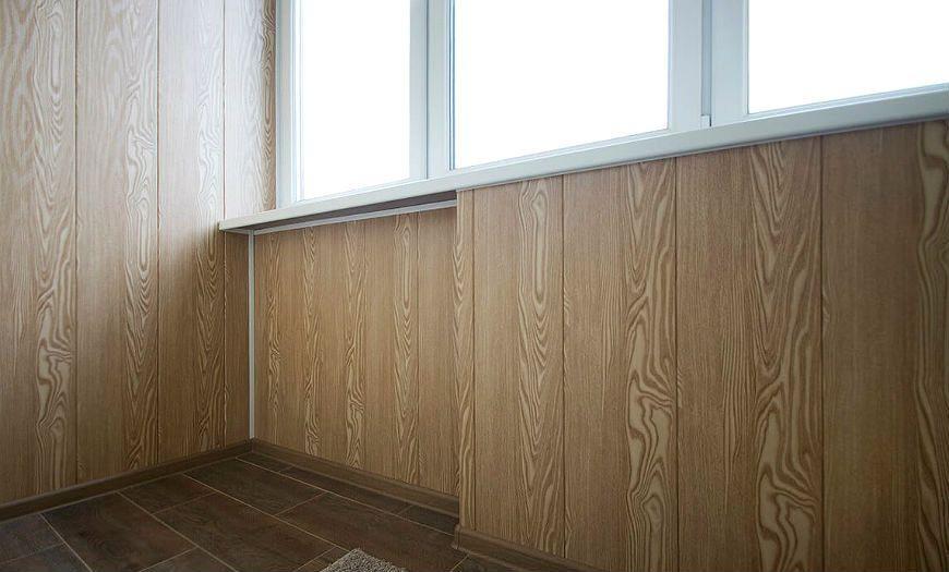 Внутренняя отделка балкона панелями МДФ.