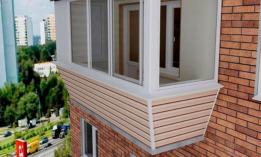 Наружная обшивка балкона винилом.